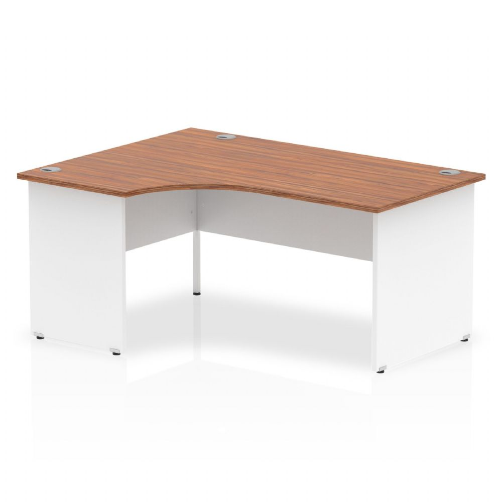 1600mm|Left Hand Crescent Desk|White Panel End|Beech, Maple, Oak & Light Walnut Finish